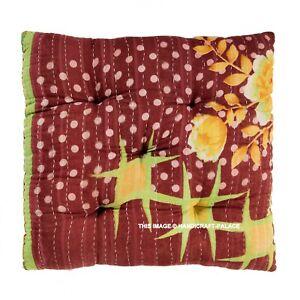 "Chair Pad Soft Patio Kantha Cushion Seat Pillow Indian Yoga Floor Mat 15 ""x 15"""