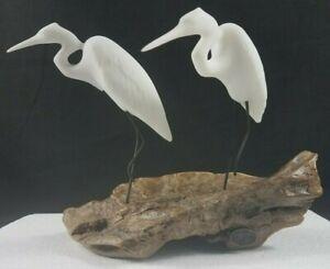 "Vintage John Perry Crane Sculpture On Burlwood 9"" X 5"""