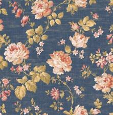 Wallpaper Designer Red Pink Cream Rose Vine on Blue Tan Faux