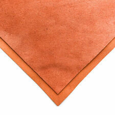 Orange Suede Leather 6x6in/15x15cm Sheets / Summer Color / Soft Velour Scraps /