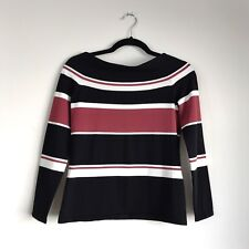 Veronica Beard Off The Shoulder Sweater Top Audrey Red Black White Striped M