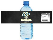 Chalkboard Mason Jar Flowers wedding anniversary Engagement Water Bottle Label