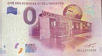 BILLET 0  EURO  CITE DES SCIENCE ET INDUSTRIE  2017 NUMERO 10000 DERNIER BILLET