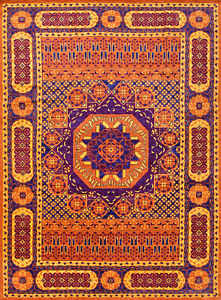 Village Mamluk Rug, 10'x14', Orange/Blue, Hand-Knotted Wool Pile