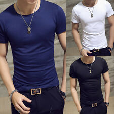 Summer Men's Casual Cotton Slim Fit Crew Neck Short Sleeve Tops Plain T-s plas