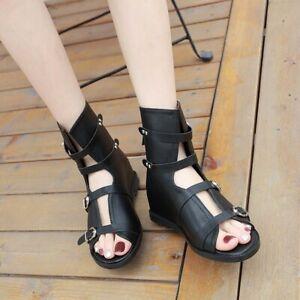 Womens Gladiator Buckle Sandals Hidden Wedge Heel Boots Peep Toe Summer Shoes
