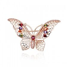 GORGEOUS 18K ROSE GOLD PLATED GENUINE CZ & AUSTRIAN CRYSTAL BUTTERFLY  BROOCH