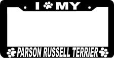 Parson Russell Terrier paw print License Plate Frame