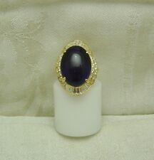 14K Solid Yellow Gold CABOCHON AMETHYST & 46 Cubic Zirconia RING SIZE 7.75 126-A