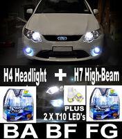 Xenon Look 5000K Headlight Bulbs H4 & H7 FALCON AU BA BF FG XR6 XR8 FREE LEDs