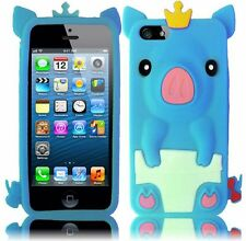 iPhone 5 5S SE Rubber SILICONE Soft Gel Skin Case Cover Cute Crown Pig Baby Blue