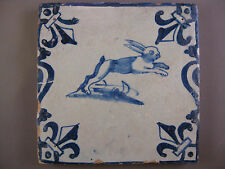 Antique Dutch animal tile hare Baluster tile rare 17th-c -- free shipping