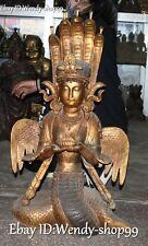 85cm Huge Old Tibet Bronze Gild 5-Heads Snake Naga Kanya Goddess Buddha Statue
