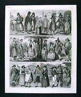 1849 Bilder Print - Ethnic German People Costume Austria Hamburg Tyrol Thuringia