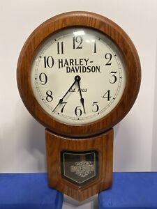 Harley Davidson Wood Clock With Pendulum Bar & Shield, 1997 H-D, Inc.