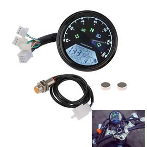 LCD Digital Gauge Universal Motorcycle Odometer Speedometer Tachometer 12000RPM