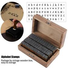 70 x Wood Alphabet Letter Number Rubber Stamps &Small Vintage Wooden Storage Box