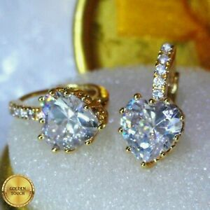 Luxury Simulated Diamonds Yellow 18k Gold Filled Heart Hoop Earrings, Gift Boxed