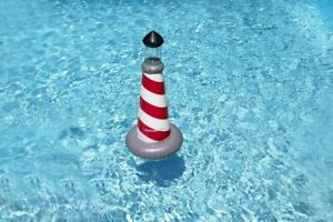 "43.5"" LED Red and White Striped Lighthouse Swimming Pool Float"