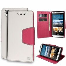 For HTC Desire 626 626S Wallet Pouch Case ID Slot Bill - Kickstand White/Pink