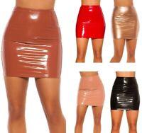 Minirock Wetlook Gr. S-L, Rock Party Damen Clubwear Lack-Optik Mini