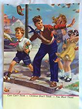 Vtg 1950s Print by Hy Hintermeister -Calendar Sample HOLD EVERYTHING school kids