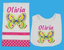 New Pink Handmade Personalized Embroidered Butterfly Bib and Burp Cloth Set