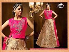 Bollywood Ethnic Designer Party Wear Cream Golden Lehenga Indian Pakistani Saree