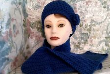 Handmade women crochet hat and scarf blue Acrylic fits size Large