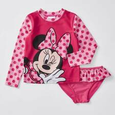 NWT Disney Licensed Minnie Mouse Girls Rash Vest Bikini Swimsuit Set Size 7