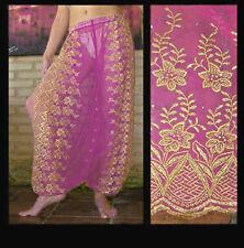 Harem Pants Belly Dance Fuchsia Pink w/ Gold Brocade Slit 11