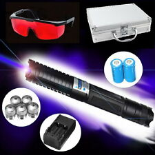 Powerful 450nm Blue Visible Beam Laser Pointer Pen Ajustable Focus 5 Star Cap