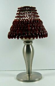 POTTERY BARN PEWTER TEALIGHT / CANDLE LAMP -  RED BEADED SHADE