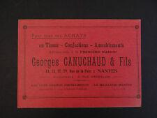 Carte de visite Visit card CDV NANTES GANUCHAUD Tissus confection Ameublement
