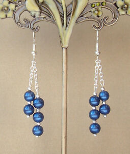 Pretty Royal Blue Glass Pearl Dangly Chain Silver Plated Drop Earrings