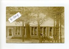 Monponsett MA Mass RPPC real photo people & dog sitting outside Dance Hall early