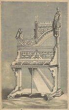 A4130 Arpa e tastiera in forma di organo - Incisione - Stampa Antica del 1890