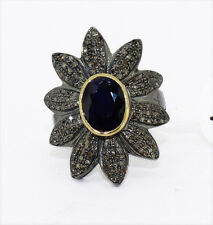 925 Sterling Silver Rose Cut Diamond Victorian Vintage Flowery Sapphire Ring