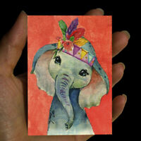 original painting drawing watercolor ACEO art animals picture signed ELEPHANT