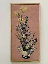 Vintage Needlepoint Framed Picture Floral Arangement Vase Gold Frame