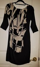 Black & Ivory stretch rouched 100% silk YOANA BARASCHI 3/4 slv sheath dress $320