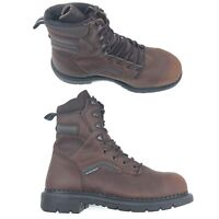 """Red Wing Men 8"""" Inch Safety Boot Brown Leather Steel Toe Work USA Made"""