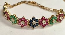 Estate Natural Ruby, Sapphire And Emerald Bracelet W .70 Carat Diamonds 14k Gold
