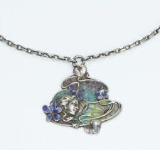 Plique À Jour Art Nouveau Sterling Silver Pendant Necklace