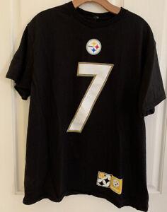 Pittsburgh Steelers Ben Roethlisberger Majestic Black Jersey T-Shirt Size L