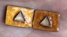 Boucles d'oreilles modernistes en argent massif, résine et cuivre