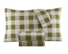 Flannel Sheet Set by DELANNA 100% Cotton (Queen, Buffalo Check Brown)