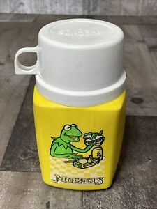 Vintage Jim Henson Muppets Kermit the Frog 8oz Yellow Thermos lid cup Only 1979