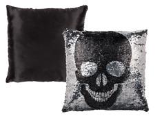 Pailletten Kissen Totenkopf silber-schwarz Glamour Deko Kissen Couch Wohndeko