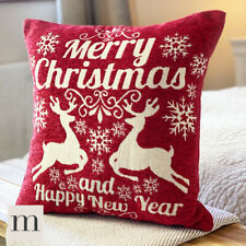 Luxury Traditional Woven Chenille Red Merry Christmas Festive Cushion Cover 17""
